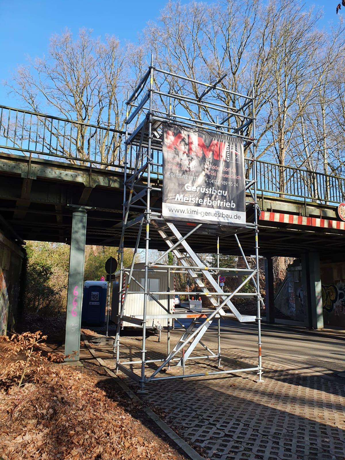 Industriespezialgerüst S-Bahn-Brücke Hamburg in Zusammenarbeit mit Stahlbau Schröder-Bild-2